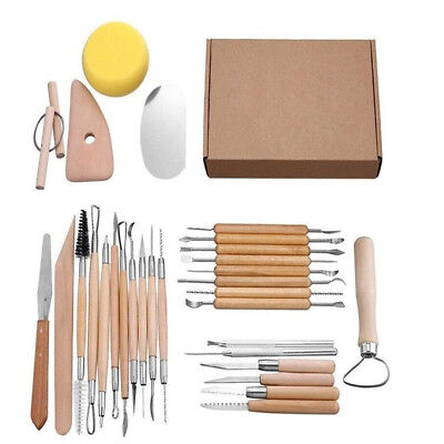 30X Flexible Wooden Handle Clay Shaper Sculpting Polymer Modelling Pottery Tools