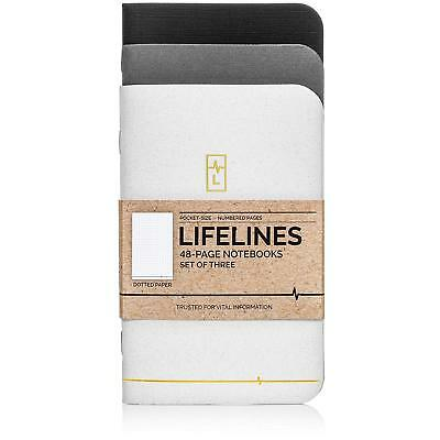 Lifelines Small Pocket Dotted Notebook Gold Line 3PK | Mini Bullet Journal Notes