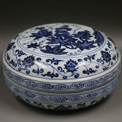 "9"" China old antique Porcelain Ming Xuande Blue & white Grape pattern Fruit box"