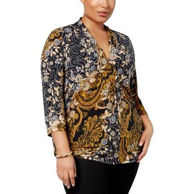 Charter Club Womens Floral Print Colorblock Pullover Top Blouse Plus BHFO 4958