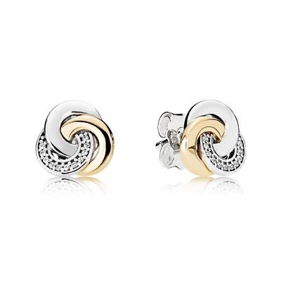 8aaebe3c4 NEW Authentic Pandora #290741CZ Interlinked Circles Stud Earrings with 14K  Gold