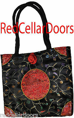 New Asian Chinese Floral Pattern Shoulder Tote Bag Purse Silky Satin D2P