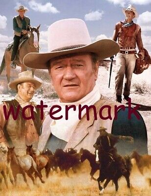 Actor John Wayne Collage In Most Famous Western Movie Roles Publicity Photo