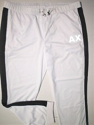 Armani Exchange jogger athletic track pants size xxl color white charcoal gray