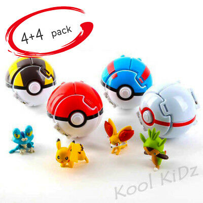 KK 4pcs Ball Throw Figure Pokemon Pop N Poke Set Pokeball Pikachu Cubone Action