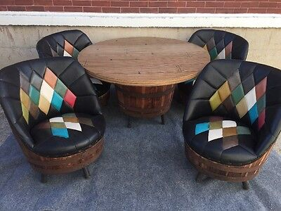 Mid Century Western Brothers Whiskey Barrel Dining Dinette Set 4 Chairs Table