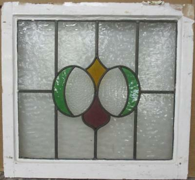 "MID SIZED OLD ENGLISH LEADED STAINED GLASS WINDOW Awesome Abstract 24"" x 22.5"""