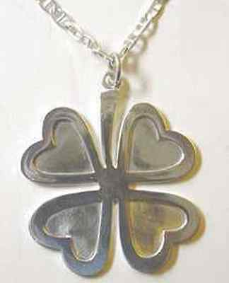 LOOK 0674 Large Celtic four 4 leaf clover Sterling Silver .925 Irish Charm Jewel