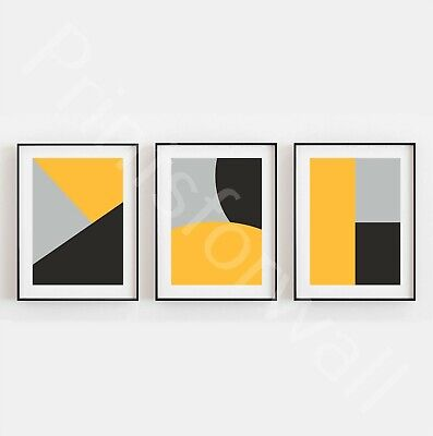 Set of 3 Home Prints Posters Abstract Mustard Yellow Black Grey Home Wall Art