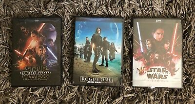 Star Wars 3-DVD Set (Force Awakens, Rogue One, The Last Jedi) Free Shipping
