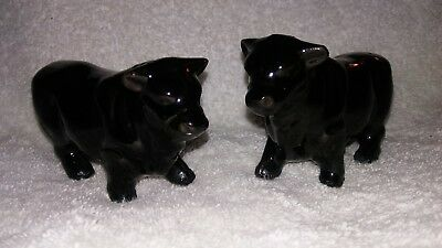 Vintage Black Angus Cow Bull Salt And Pepper Shakers