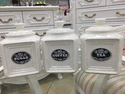 Set Of 3 Canisters Set In Black Coffee/Sugar/Tea Logo