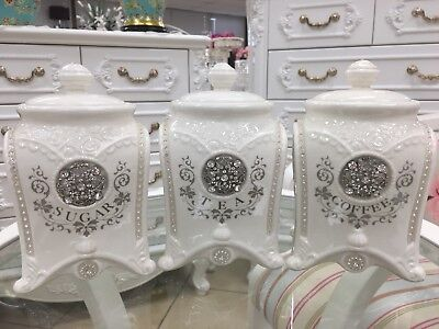 Set Of 3 Canisters Set With Diamonded  Decorate