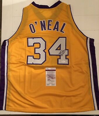 c3f81368127 Autographed SHAQUILLE O NEAL Los Angeles Lakers Gold Jersey JSA COA Auto  Shaq