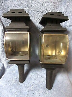 Pair of Antique Horse Drawn Carriage Kerosene Lamps w Beveled Curved Glass