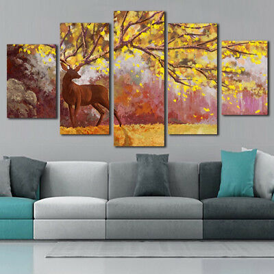 Brown Deer Abstract Yellow Tree Painting 5 Panel Canvas Print Wall Art Poster