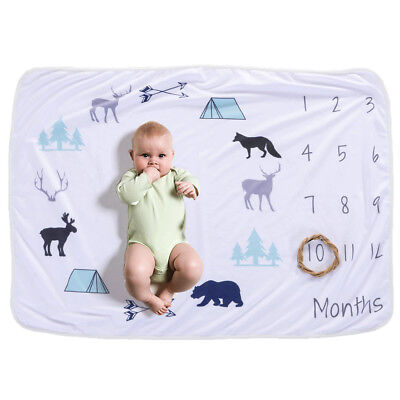 Baby Monthly Milestone Blanket For Girl Boy Floral Deer Horn Frame Newborn O5S0