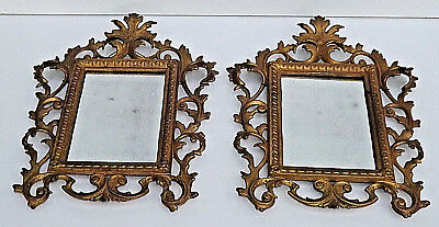 2No 19th Century Gilt Metal Rococo Style Small Wall Mirrors