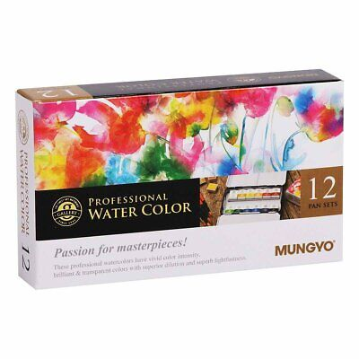 Mungyo Watercolour Pan Set Half Size 12 Colours