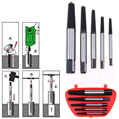 5Pcs/Set Damaged Screw Extractor Easy Out Set Bolt Stud Remover Auto Repair Tool