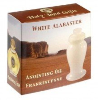 """Anointing Oil Frankincense w/3"""" White Alabaster 1/2 oz"""