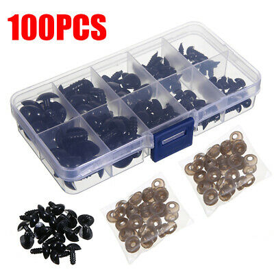 100x Black  Safety Noses Triangle Nose For Animal Doll Teddy Puppet Kids Toy DIY