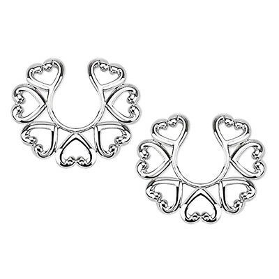 1 Pair Non Piercing Nipple Rings Vintage Hearts Clamps Clip Female Male SM Sex