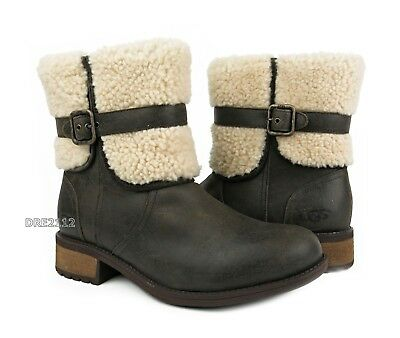 3d3f7566f71 UGG AUSTRALIA WOMEN'S CYBELE Lodge Brown Leather Boots Size US 9.5 ...