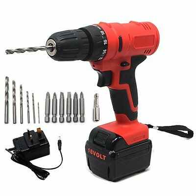 18V Cordless Drill Driver Fast Charge Ni-Cd Battery ELECTRIC Screwdriver LED SET