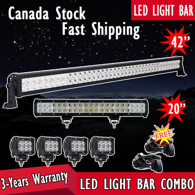 "42inch LED Light Bar Combo + 20""+ 4inch Spot Pods Off road 4WD Truck Jeep SUV 20"
