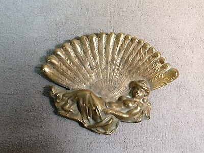Antique Art Nouveau Brass Calling Card Tray