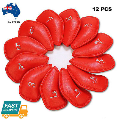 10 Pcs Golf Iron Head Covers with Numbers Waterproof  PU Leather 3 Colors AU
