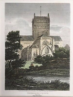 1804 Antique Print; Tewkesbury Abbey East End, Gloucestershire after Burden