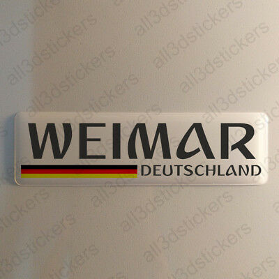 """Weimar Germany Sticker 4.70x1.18"""" Domed Resin 3D Flag Stickers Decal Vinyl"""
