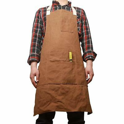 Waxed Canvas Work Shop Apron Bib with Six Pockets Waterproof Thick Heavy Duty