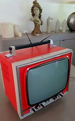 Prandoni Tv Television Vintage Orange Deco Space Age Loft Made Italia 70's