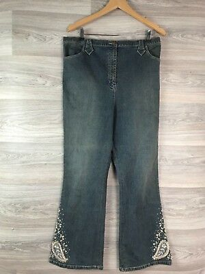 Next Blue Maternity Jeans Gold Embroidery Adjustable Waist Size 12 14 8383