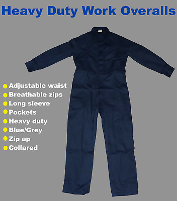 Work Overalls Blue/Grey Long Sleeve Heavy-Duty Size Large (87) Army Surplus