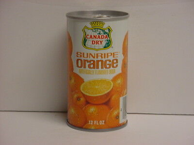 Canada Dry Sunripe Orange Straight Steel Pull Tab Bottom Opened Soda Can