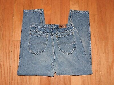 """Vintage LEE Blue Jeans 80's High Waisted Tapered Legs Size 10 Petite 28"""" Waist"""