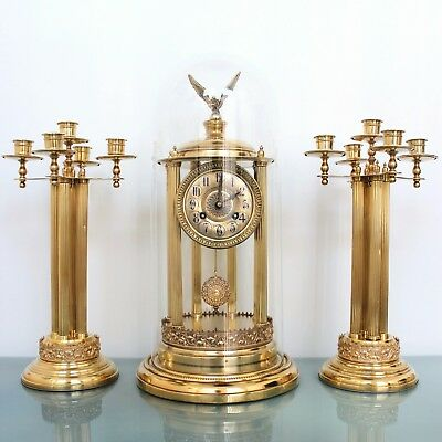 TOBIAS BAUERLE CLOCK Mantel TOP SET DOME PILLAR Sidepieces Antique Chime Germany