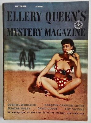 Vintage 1953 Ellery Queen's Mystery Magazine Digest Hot Bettie Page Pin-Up Cover