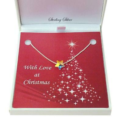 Necklace with Star for Christmas, Sterling Silver. Sizes for Women and Girls.