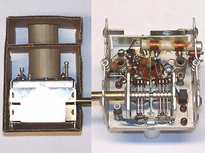 VINTAGE vacuum tube - RF radio tuner PART ASSEMBLY coils variable air capacitor