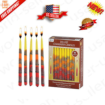 """Hanukkah Candles Zion Judaica Hand Made Blaze of Fire Deluxe 5.75"""" Tall 45 Delux"""