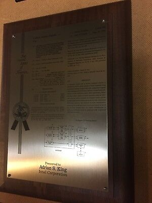 """Vintage Intel PATENT PLAQUE   Wood And Metal  9"""" X 12"""".   RARe"""