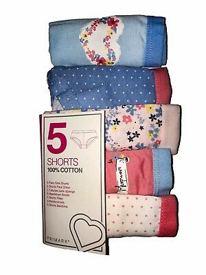 Ex Primark 5 Pack Girls Shorts Briefs Knickers 100% Cotton Age 5 - 13 Years (P94