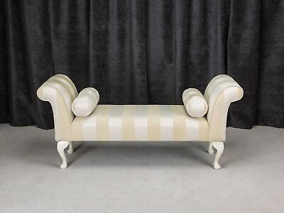 "56"" Large Chaise Longue Lounge Sofa Seat Chair Gold Stripe Fabric + 2 Bolsters"