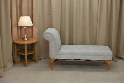 """52"""" Large Chaise Longue Lounge Sofa Day Bed Chair Seat Grey Oleandro Fabric UK"""