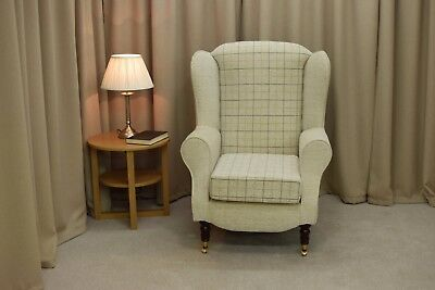 High Wing Back Fireside Chair Maida Vale Check Fabric Easy Armchair Front Castor